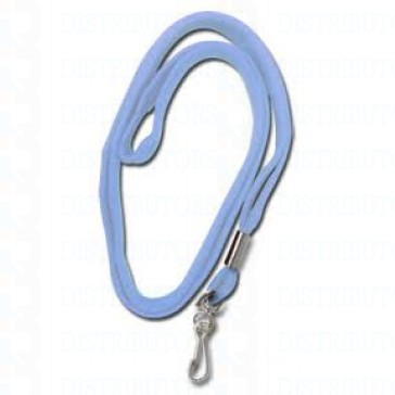 "3/16"" Round Non-Breakaway Lanyard w/Swivel Hook-Powder Blue - Pack of 100"