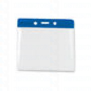 Color-Coded Horizontal Top Load Badge Holder W/Color Bar At Top Slot/Chain Holes - Blue - Pack of 100