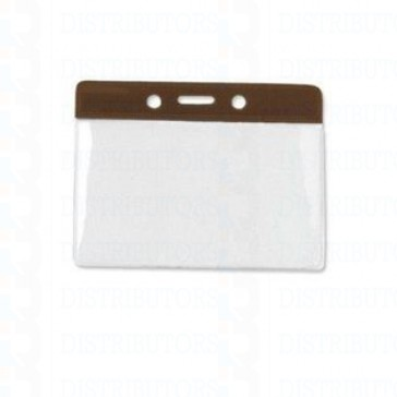 Color-Coded Horizontal Top Load Badge Holder W/Color Bar At Top Slot/Chain Holes - Brown - Pack of 100