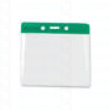 Color-Coded Horizontal Top Load Badge Holder W/Color Bar At Top Slot/Chain Holes - Green - Pack of 100