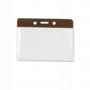 Color-Coded Vertical Badge Holder W/Color Frame - Brown- Pack of 100