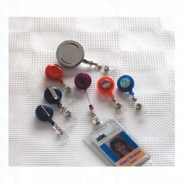 Economy Badge Reel, Pin-On, Blue - 100
