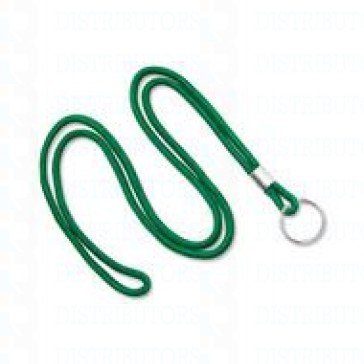 "3/16"" Round Non-Breakaway Lanyard w/Split Ring - Green-Pack of 100"