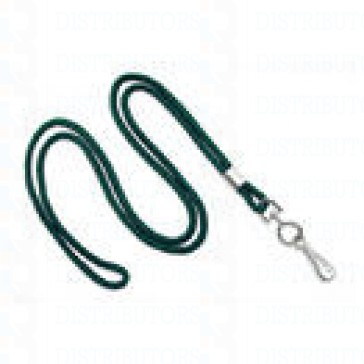 "3/16"" Round Non-Breakaway Lanyard with Swivel Hook - Green - Pack of 100"