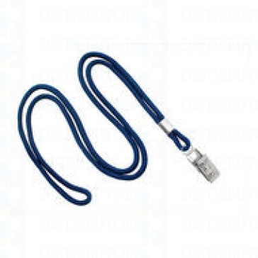 "3/8""  Non-Breakaway Lanyard With Bulldog Clip - Navy- Pack of 100"