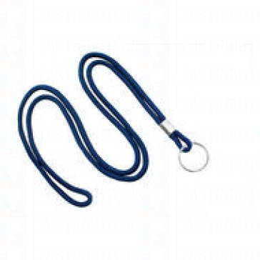 "3/16"" Round Non-Breakaway Lanyard w/Spilt Ring-Navy -Pack of 100"