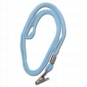 "3/8""  Non-Breakaway Lanyard With Bulldog Clip - Powder Blue-Pack of 100"