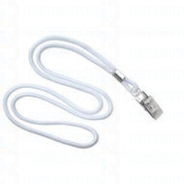"3/8""  Non-Breakaway Lanyard With Bulldog Clip - White-Pack of 100"
