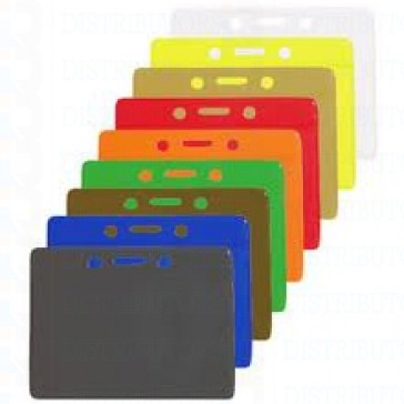 Color-Coded Horizontal Badge Holder With Solid Color Background W/Slot & Chain Holes - Red - Pack of 100