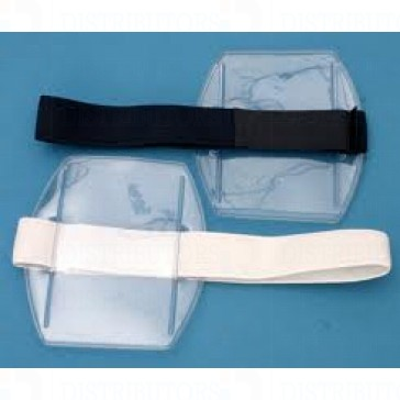 Clear Plastic Card Holder - Black Armband - Credit Card Size 2.125 inches by 3.375 inches Vertical - Pack of 100