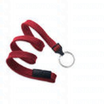 Premium Round Cord w Breakaway, Quick Release, Split Ring- Red Pack of 100