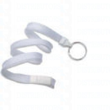 Premium Round Cord w Breakaway, Quick Release, Split Ring, White-Pack of 100