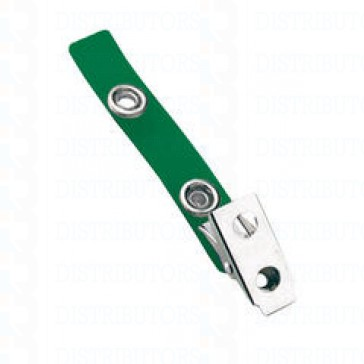 Strap-Clip-Color-Vinyl- W-/-Metal-Bulldog-Clip-Green-Pack-of-100