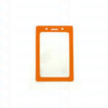 Color-Coded Vertical Badge Holder W/Color Frame - Orange - Pack of 100