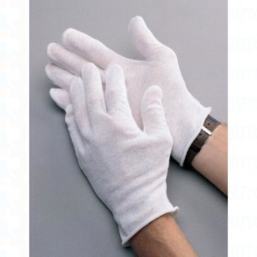 White Cotton Coin/CD/Smudge Free Gloves (12 Pair)