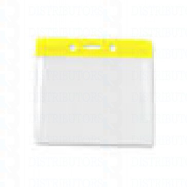 Color-Coded Horiz/Top Load Badge Holder W/Color Bar At Top Slot/Chain Holes - Yellow- Pack of 100