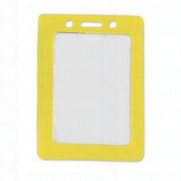 Color-Coded Vertical Badge Holder W/Color Frame - Yellow - Pack of 100