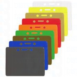Color-Coded Horizontal Badge Holder With Solid Color Background W/Slot & Chain Holes - Yellow - Pack of 100