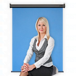 "Standard Backdrop with Retractable Ceiling or Wall Mounted- Cloth Backdrop, 34"" X 28"",Black Casing -Lt Blue"