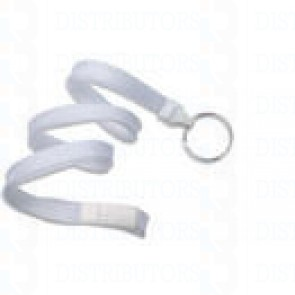 Breakaway Lanyard w Split Ring- White Pack of 100