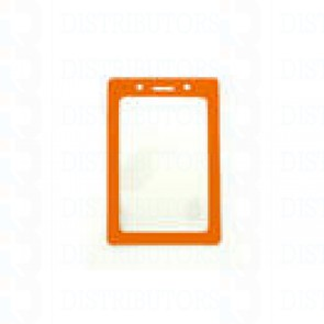 Color-Coded Vertical Badge Holder W/Color Frame - Orange - Pack of 100
