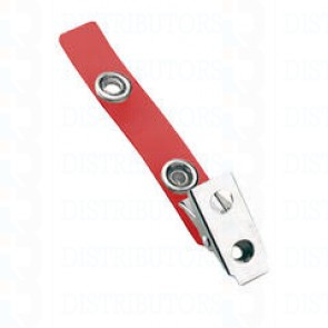 Strap-Clip-Color-Vinyl- W-/-Metal-Bulldog-Clip-Red-Pack-of-100