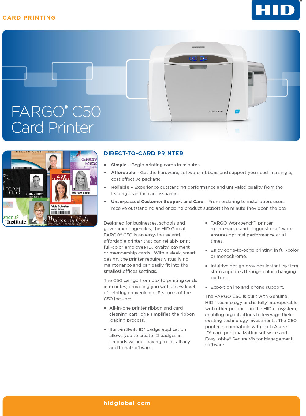 Fargo C50 ID Card Printer Datasheet page 1